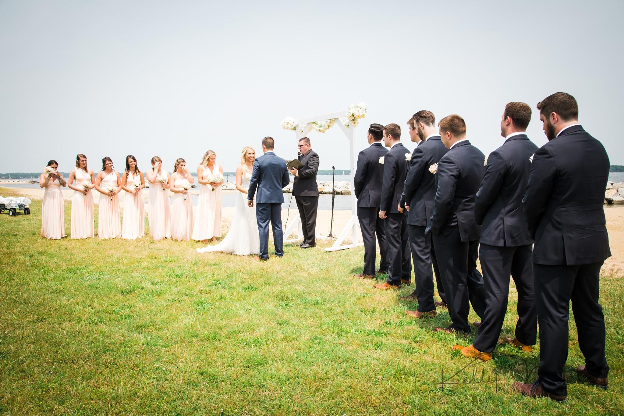 waterfront maryland wedding venue, blush bridesmaids dresses, lulus bridesmaid dress, navy blue groo