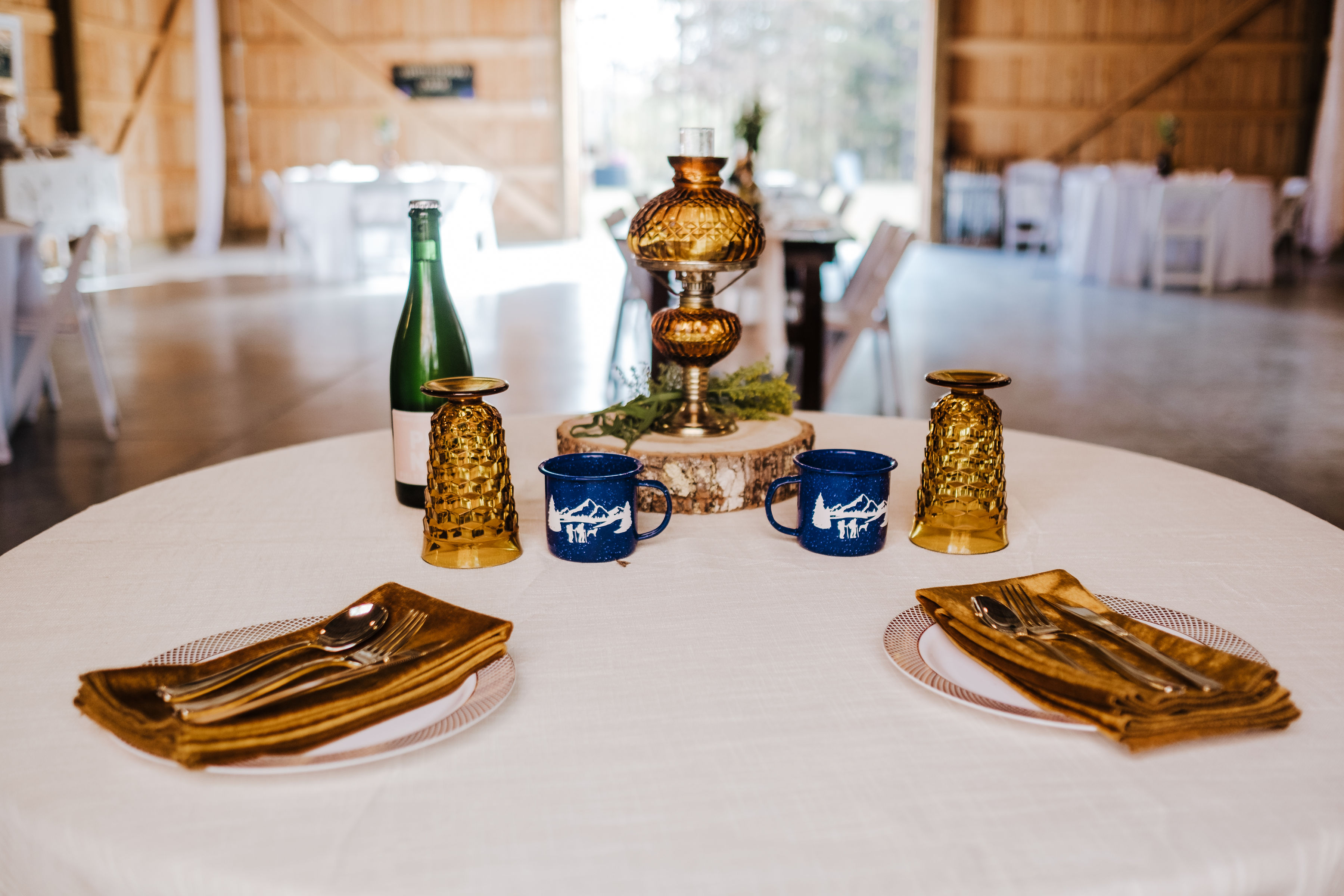 sweetheart table for a wedding couple that loves camping
