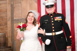 army wedding, military wedding, bride and groom, democrat, barn wedding, small wedding, initimate we