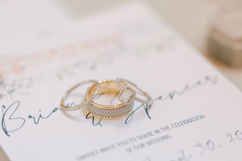 custom wedding band, custom engagement ring, custom stationery, wedding detail photos