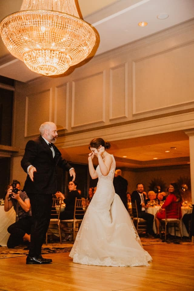 father of the bride, wedding dress, first dance, parent dance, ballroom wedding venue, ceremony and