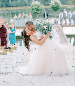 flower exit, flower pedals, mother of the groom, wedding guest dress, dock wedding, lake wedding, ou