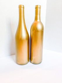 Gold Painted Wine Bottle_Candle or Flower Vase