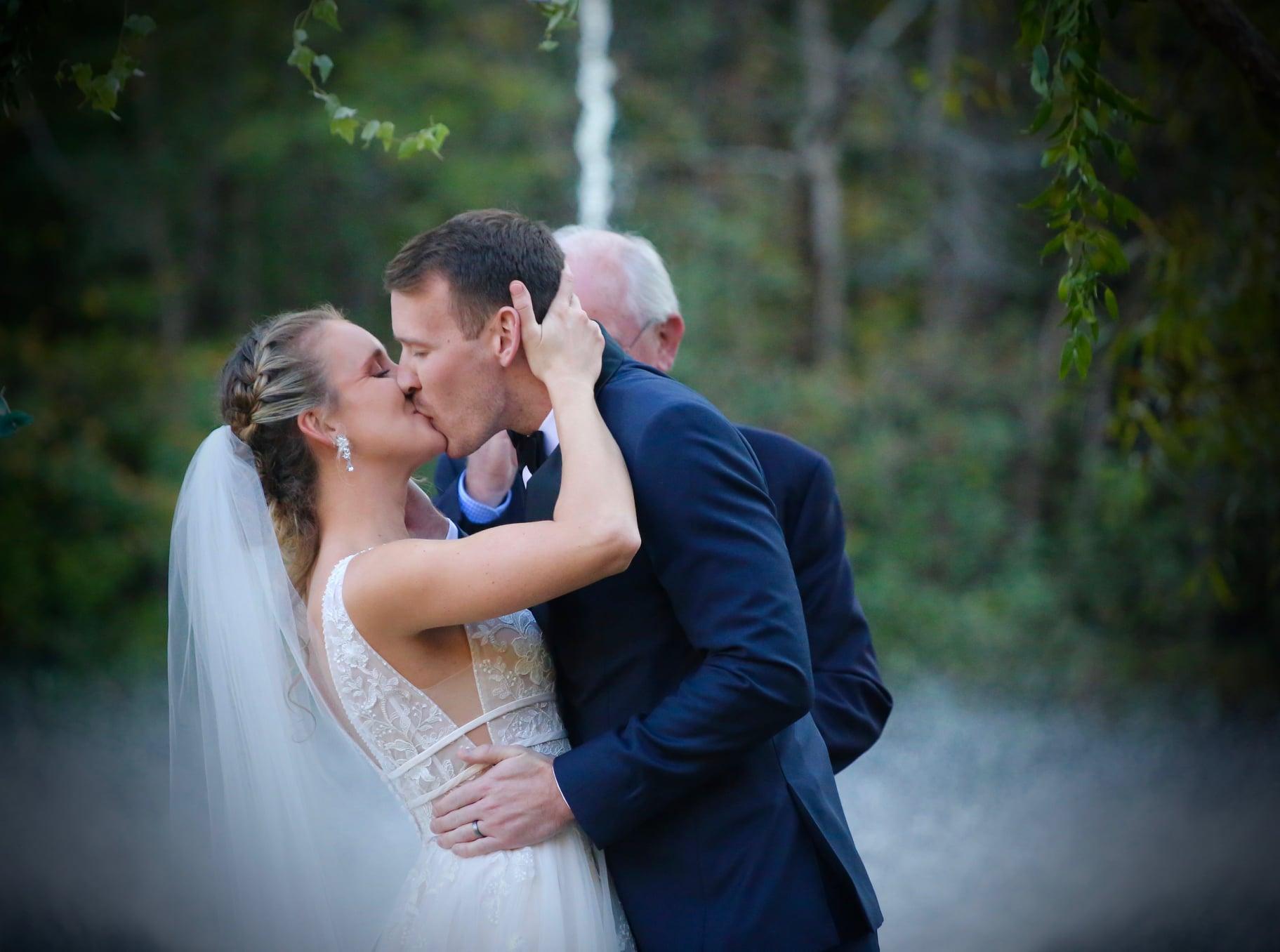 Waterfall first kiss wedding veil and bridal hair