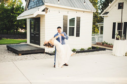 bride and groom first dance outdoor courtyard reception