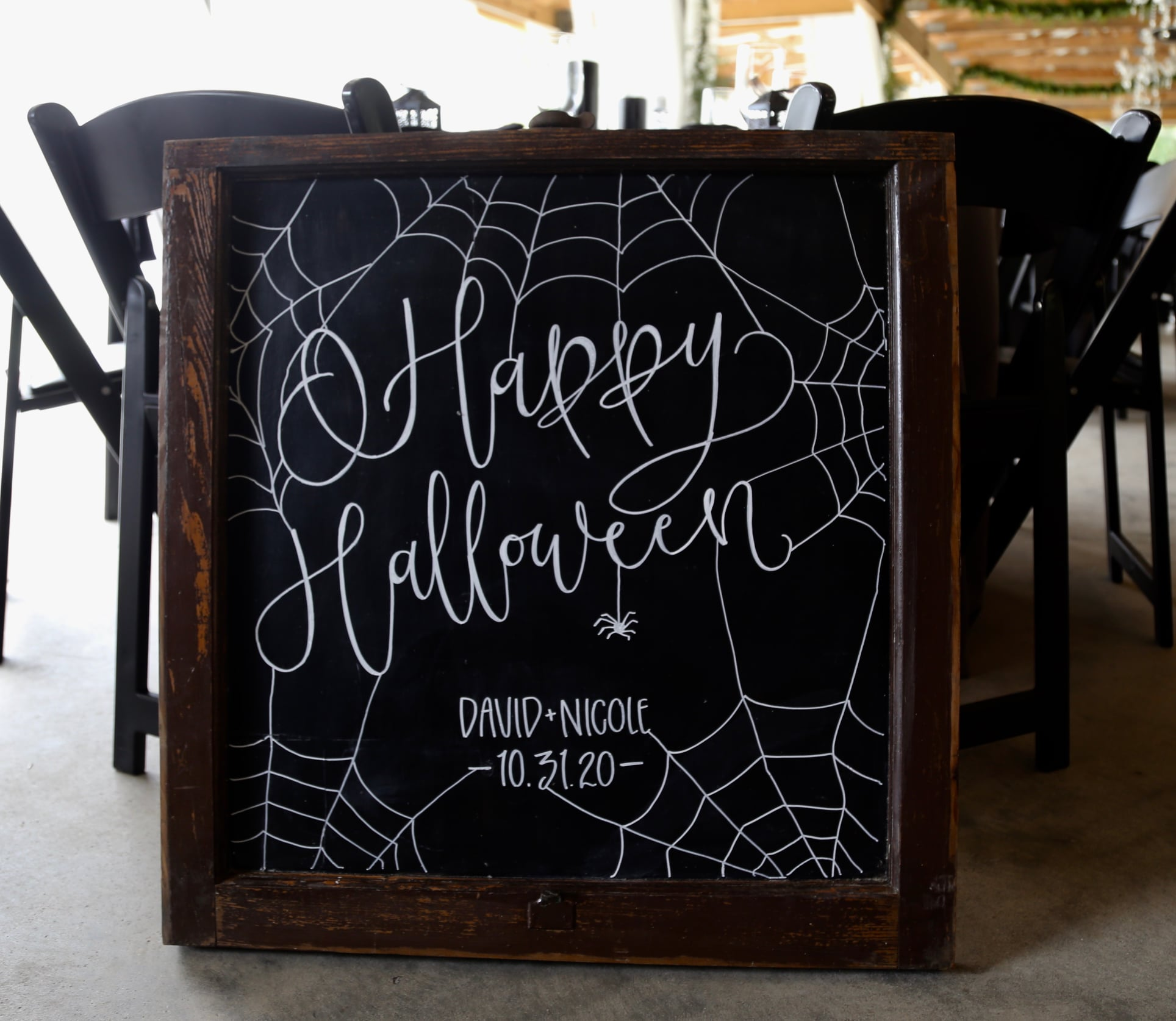 Elegant halloween wedding and chalkboard wedding sign