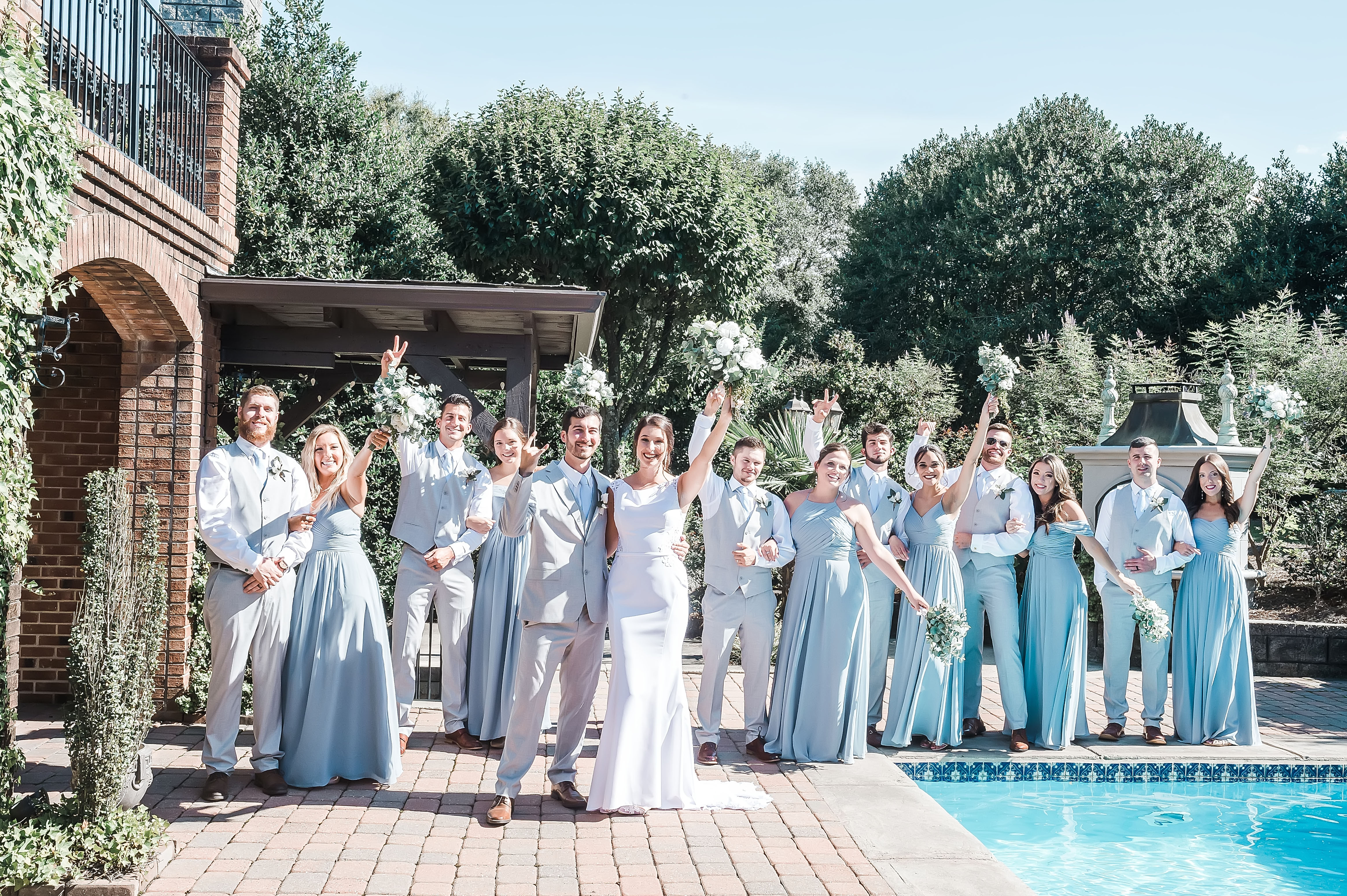 wedding party photo inspiration, cocktail hour by pool, outdoor wedding