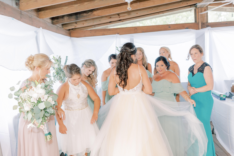 reception dress, diy flowers, green bridesmaid dresses, mother of the groom dress, wren bridal, etsy