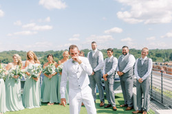 groom emotional first look, groom cries, crying groom, wedding party first look, rooftop wedding, ho