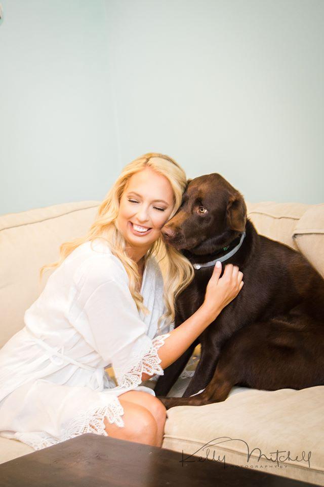 dog getting ready wedding photo, dog wedding day, blonde bride, maryland wedding