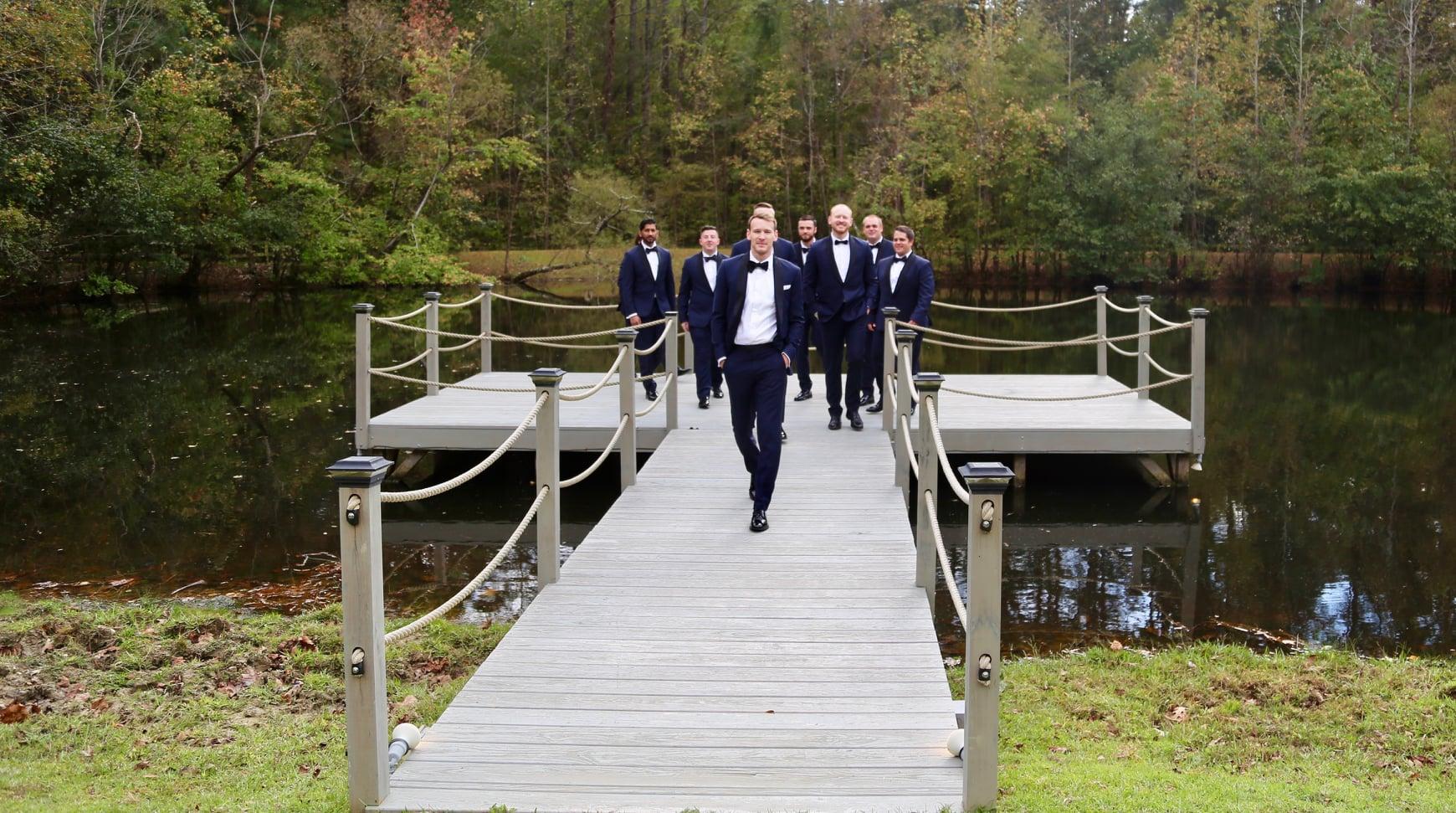 groom men photo inspo outdoor farm wedding, lake wedding