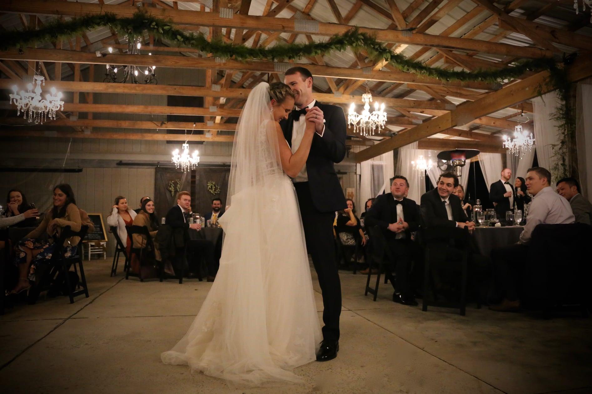 sugar pie honeybunch first dance song at pavilion barn wedding in raleigh north carolina at morris p