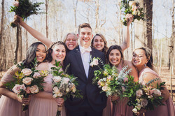 Nine19Photography RaleighNC Wedding Photographer bridesmaids and groom on wedding day