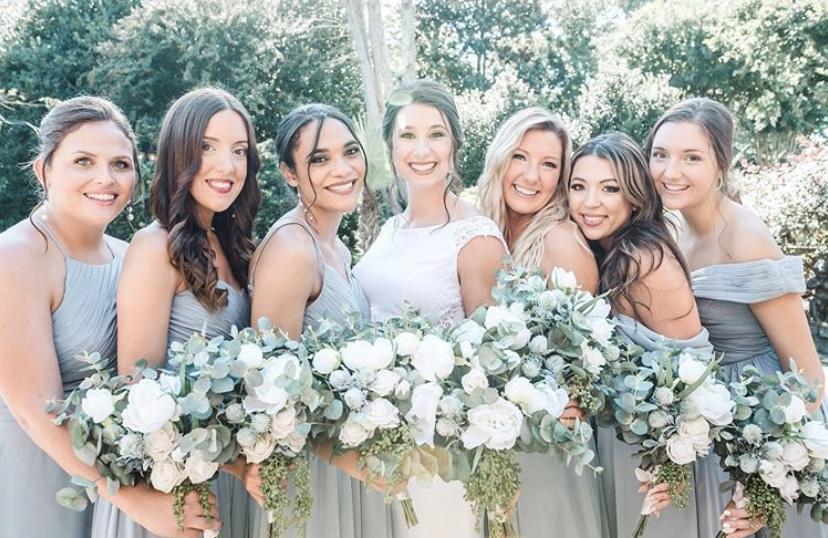 bridesmaid bouquets, bridal bouquet, dusty blue azazie bridesmaids dress