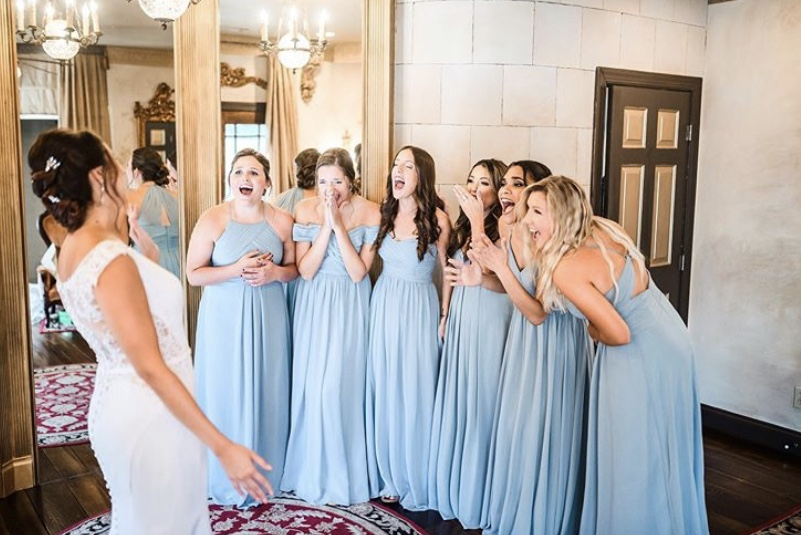 bridesmaid dress reveal, bride first look, best reaction to bridesmaids reveal