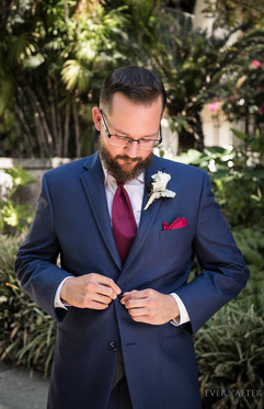 Groom at Los Angeles River Center and Garden