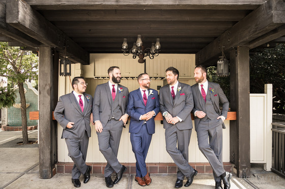 Groomsmen at LA River Center and Garden