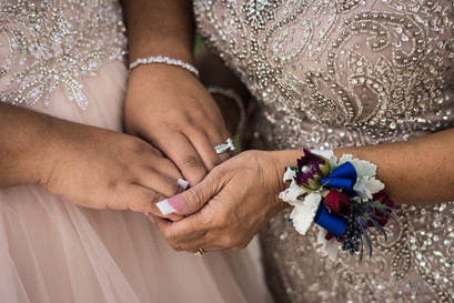 Mom and Daughter holding hands LA Wedding