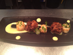 Curried Scallops with Bahjis