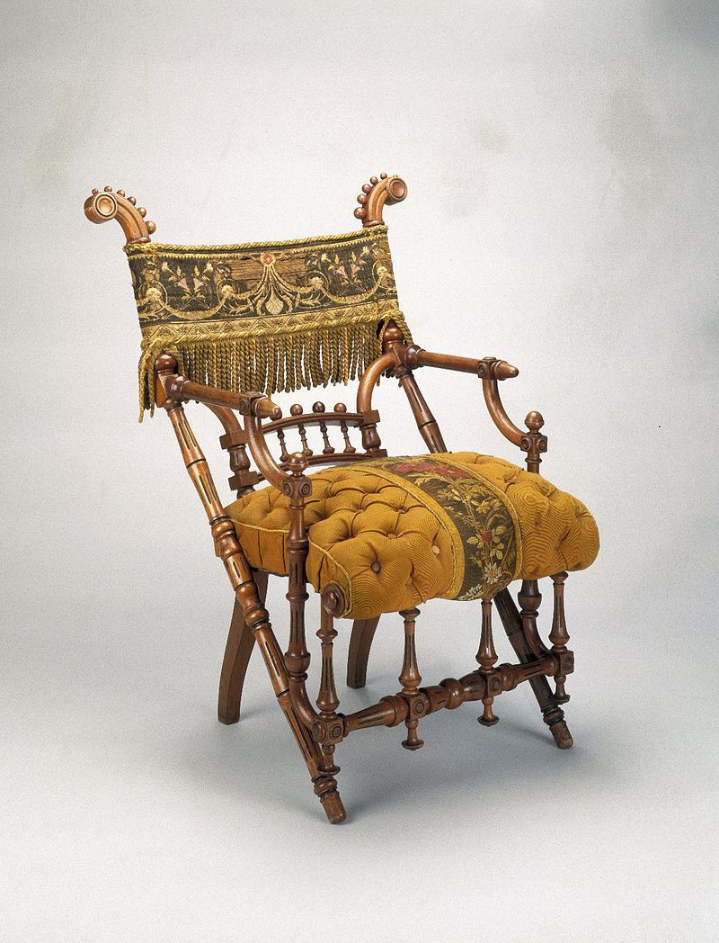 Armchair, designed in 1869 by George Jacob Hunzinger and patented on March 30, 1869. Wood, original upholstery. Brooklyn Museum