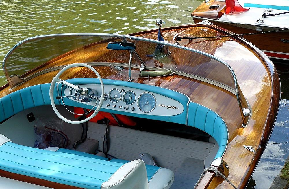 A motorboat cockpit.