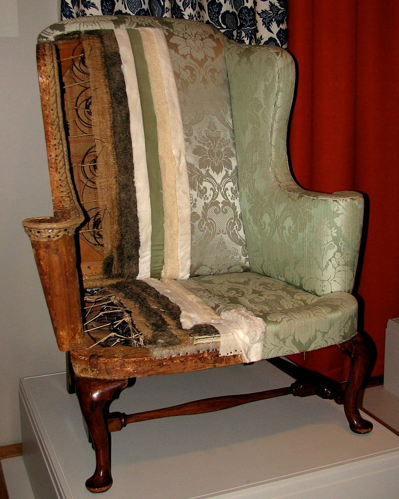 A New England easy chair with its upholstery sectioned