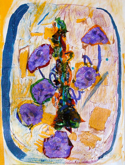 Untitled 42 (Border Line), 2014, Watercolor pencil, crayon, cellophane, and synt