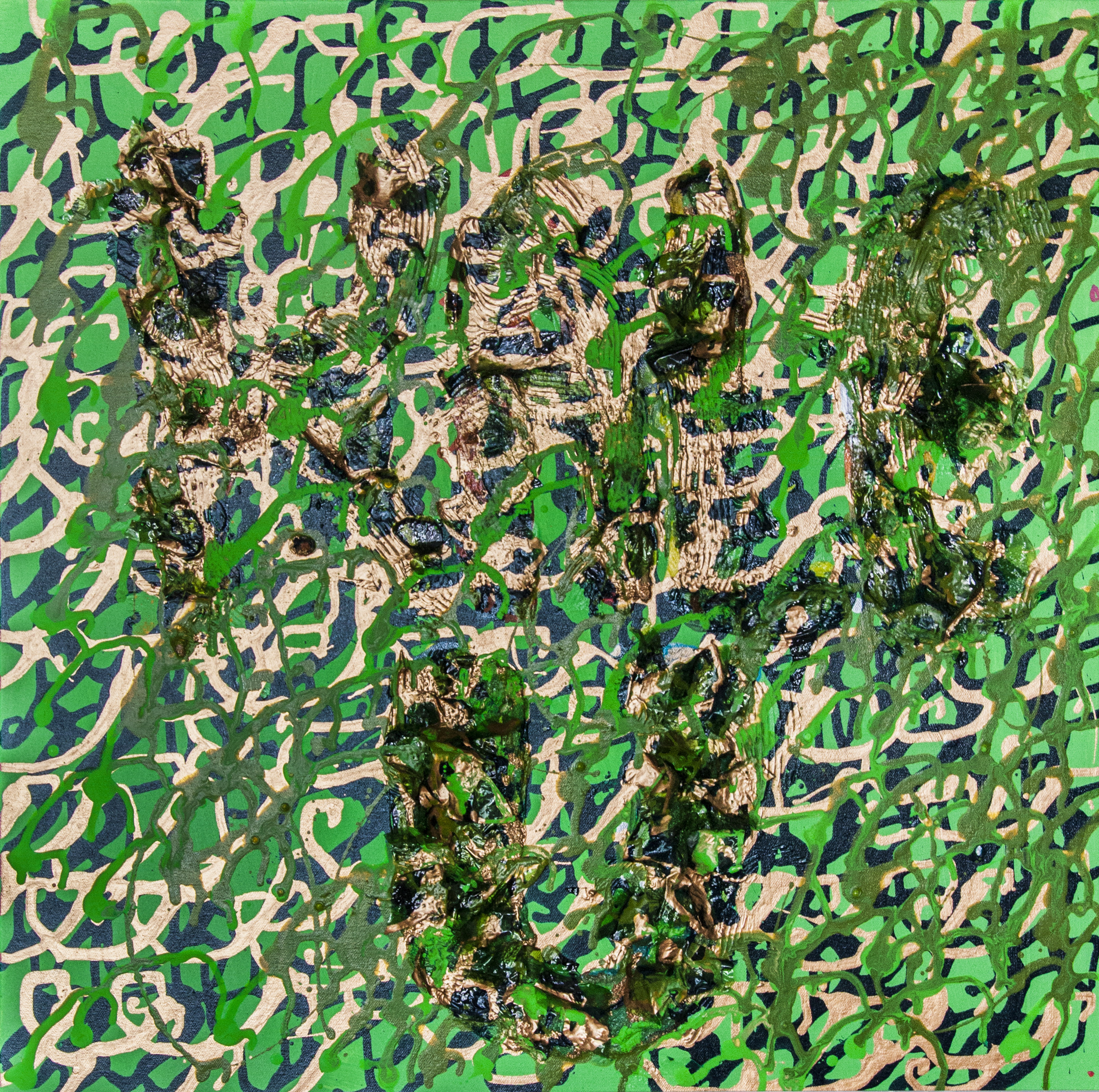 3_Olive & Bettes Quadruptych 2 (Kale University). 2015, mixed media on canvas, 2