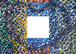 46 (Fieldston Family), 2015, mixed media on four interlocking canvases, 30x42 in