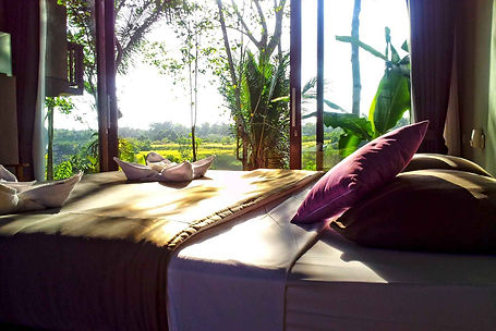 Contemporary bedroom at Prashanti in Ubud, Bali with Campuhan Hill view