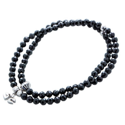 Black spinel double bracelet