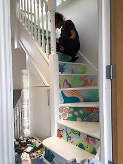 girls staircase work in progress