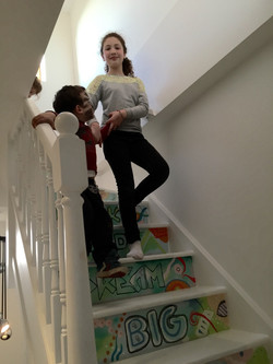 happy client on her new staircase