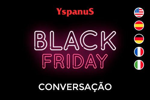 black friday conversação online em inglês, espanhol, alemão, italiano e francês