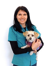Dr Karen Viggers, Veterinarian at Brudine Veterinary Hospital holding a small dog in her arms