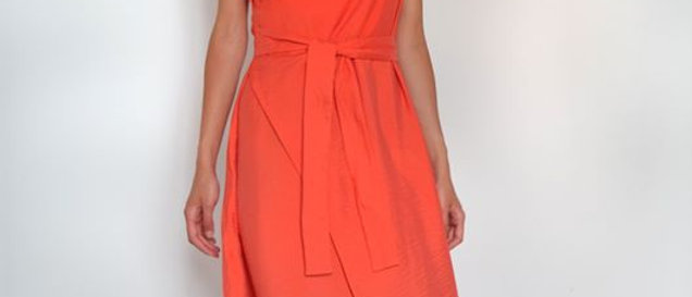 Carrot dress with blue details