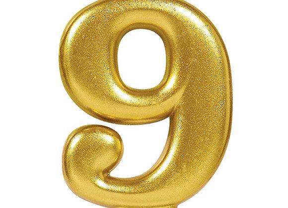 Vela Numero Nueve - Gold Number 9 Cake Candle