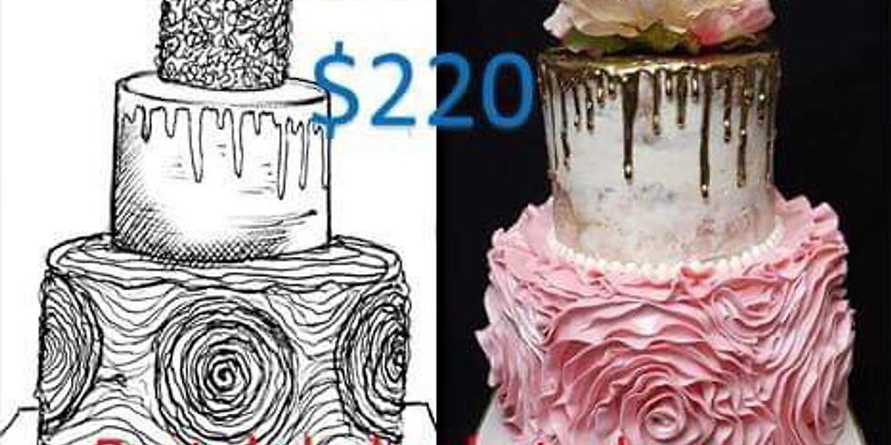 Pastel de Boda en Buttercream 3 pisos Costo $220