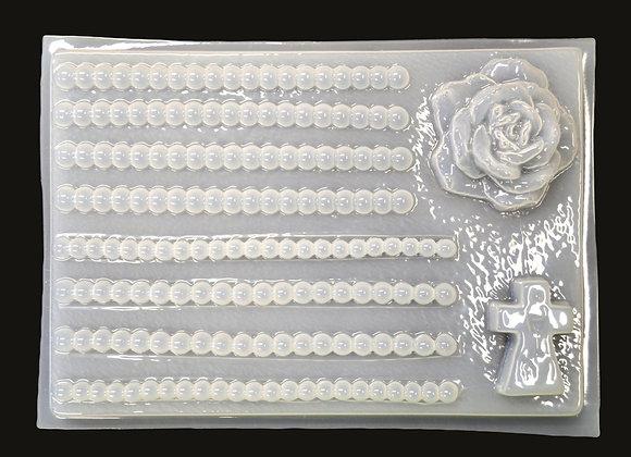 Cruz, Rosa y perlas para rosario