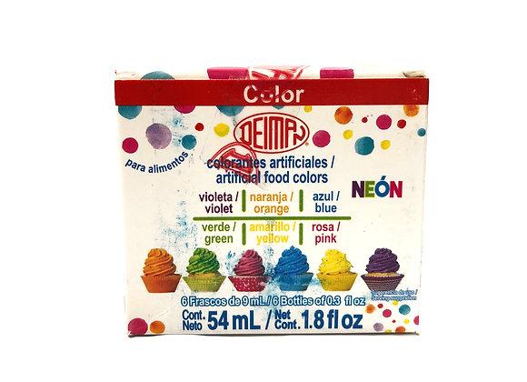 Colorantes Neon - Cajita Multicolor 6 botecitos 0.3oz