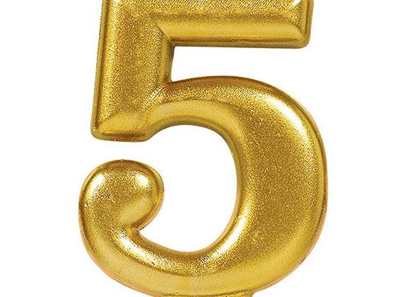 Vela Numero Cinco - Gold Number 5 Cake Candle