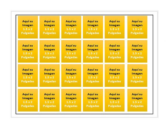 24 Rectangulos por Hoja de 1.5 x 2  pulgadas (GELAPALETAS)