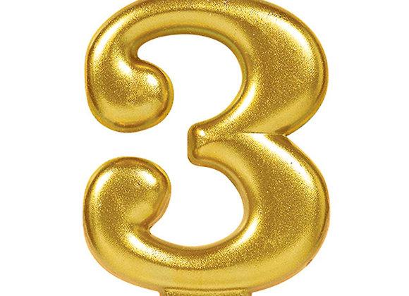 Vela Numero Tres - Gold Number 3 Cake Candle
