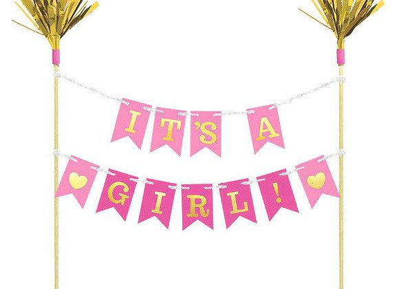Es niña?  Letrero para Pastel - It's A Girl Banner Cake Topper