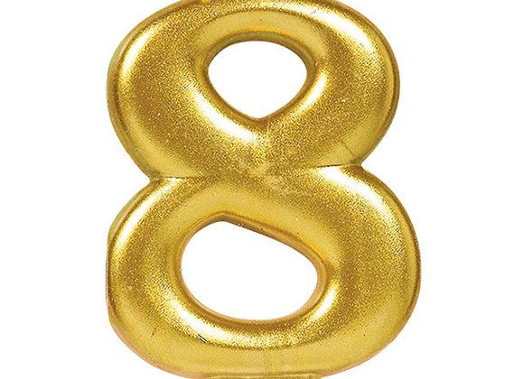 Vela Numero Ocho - Gold Number 8 Cake Candle