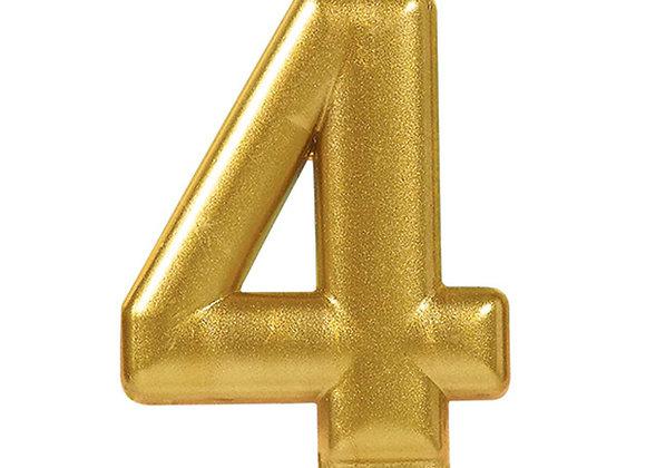 Vela Numero Cuatro - Gold Number 4 Cake Candle