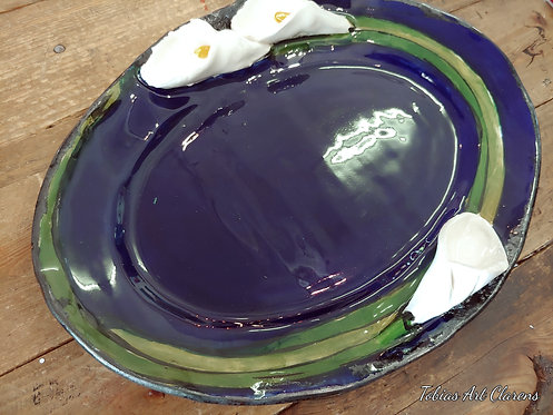 Arum Lily decorated handmade oval shaped pottery plate