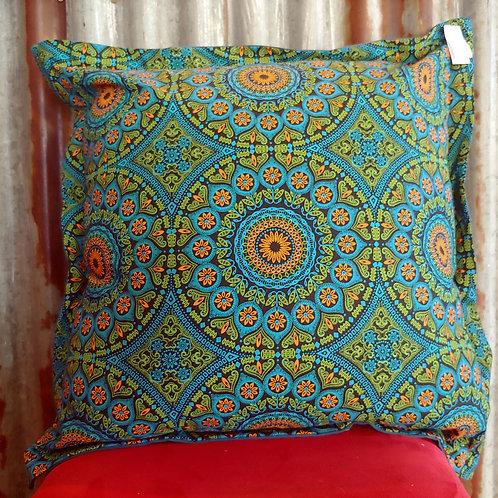 Shweshwe Lime and Orange Scatter Cushion
