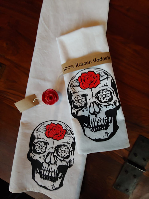 100% Cotton Dishcloth - Candy Skull