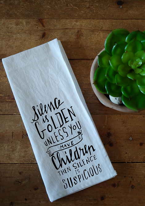 100% Cotton Dishcloth - Silence is golden